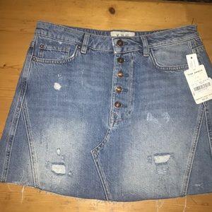 Free People Denim Skirt 30 5 Raw Hem